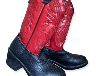 Vintage Black And Red USA Made Cowboy Cowgirl Western Boots Size 8.5 Faux Leather