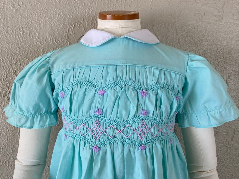 Retro Kids Collared Dress Embroidered Smocked Bodice Size 4