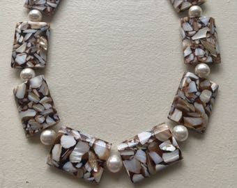 Shelll beads with Swarovski Pearl accents