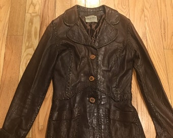 Vintage 1970s Braum's Leather, Berkeley CA Stiched Leather Jacket Sz. Small Bone Buttons