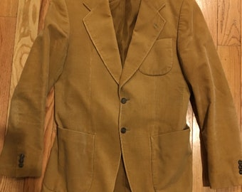 GORGEOUS Vintage 1970s HIRMER Munich Brown Corduroy Sportscoat size Medium