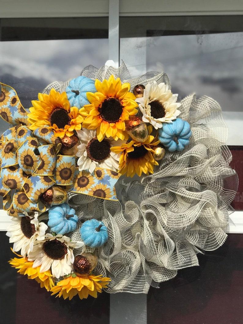 Blue Pumpkin Sunflower Mesh Wreath Fall Wreath Sunflowers Etsy