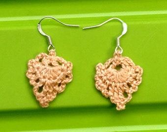 Boucles d'oreilles crocheté «Douceur crémeuse»