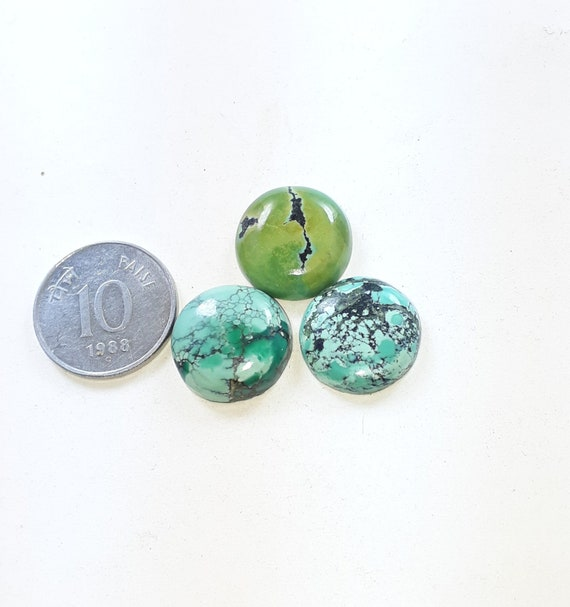 unteat natural tibetan turquoise smooth cabochon 5 pics lot wholesale high quality loose gemstone round size 10x10 mm approx
