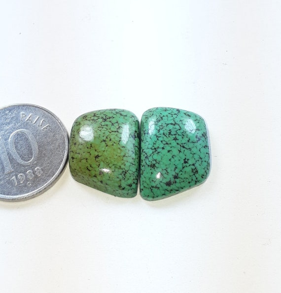 1 pair unteat natural Tibetan turquoise smooth cabochon pear shape size 21x12x3 mm approx high quality designer cabochon loose gemstone 13ct