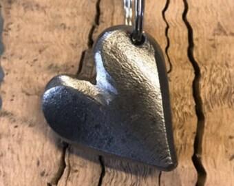 Heart Keyring - Steel heart