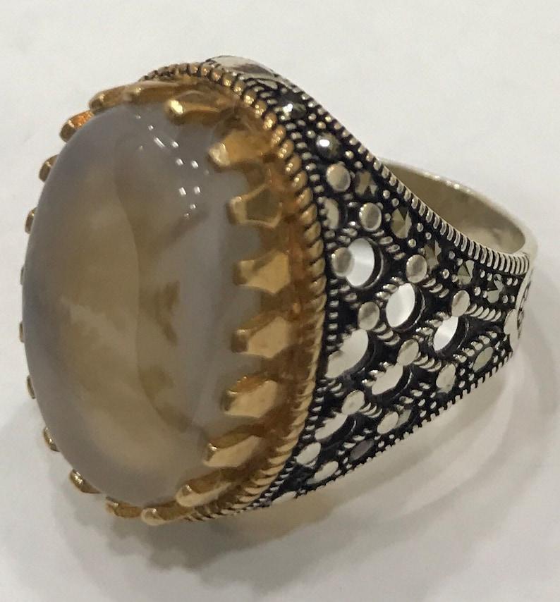 akik Handmade aqiq aqeeq Silver Yemeni Multi-Color agate Men Ring Handmade Yemen