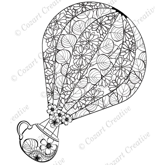 - Hot Air Balloon Coloring Page. Enjoy The Ride With A Flower Etsy