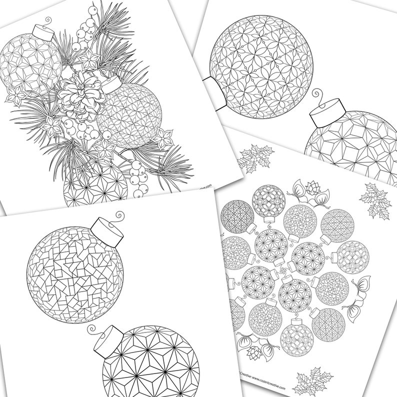 geometric pattern pinecone Christmas Relaxing coloring pages. mandala Holiday Ornament coloring pages 4-pack Save 10/% berries