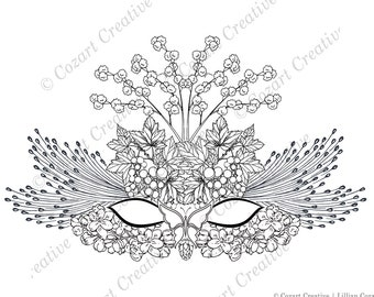 Masquerade ball or Mardi Gras? This beautiful costume mask made of hydrangea, butterfly, grapes, flower puffs will take you there!