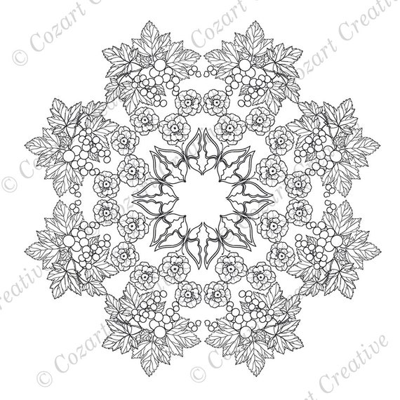 Mandala Coloring Page Intricately Detailed With Butterflies Etsy