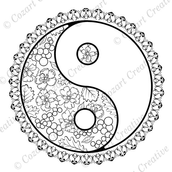 Coloring Page Yin Yang Chinese Symbol Fusion Flowers