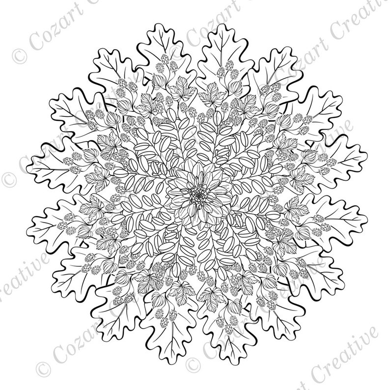 Mandala coloring page - nature, oak leaves, hops, spray of leaves, large  central flower. Meditative mandala. Spring Flowers. PDF