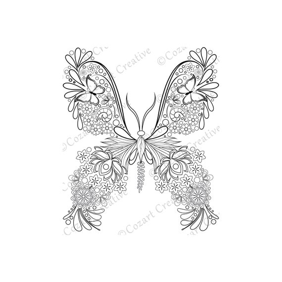 Butterfly Coloring Page 9 Flower Butterfly Swirl Leaf Etsy