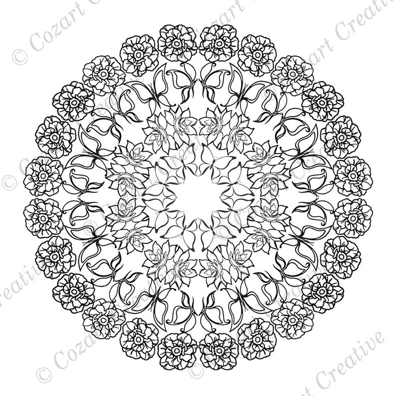 Mandala Coloring Page Nature Flowers Butterflies Peony Etsy