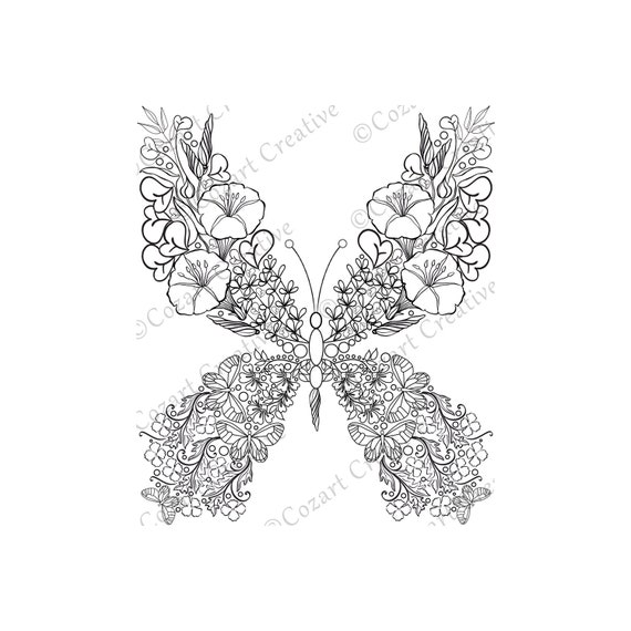 Butterfly Coloring Page 14 Flower Butterfly Swirl Leaf Etsy