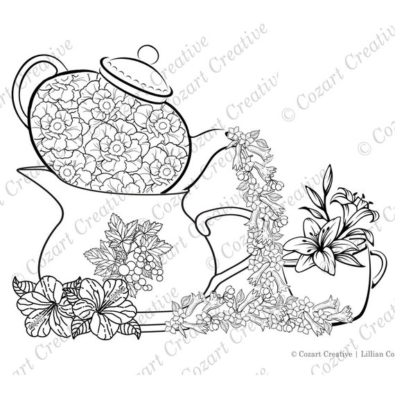 Fanciful Tea Party Coloring Page Flowers Teapots And Etsy