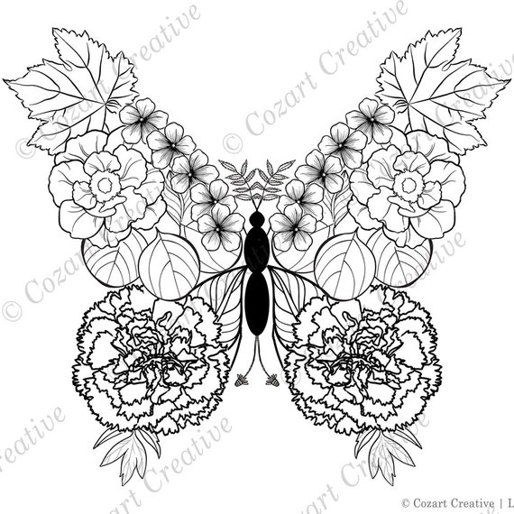 Butterfly coloring page - carnations, peonies, cherry blossoms, maple  leaves, eucalyptus. Whimsical flowery butterfly. Spring Flowers. PDF