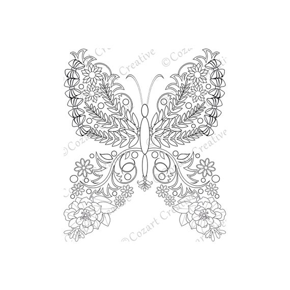 Butterfly Coloring Page 18 Flower Butterfly Swirl Leaf Etsy