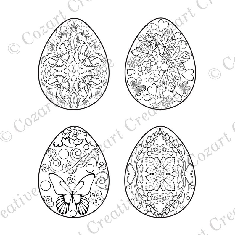 Easter Egg Coloring Page 4 Designs With Flowers Etsyrhetsy: Butterfly Eggs Coloring Pages At Baymontmadison.com