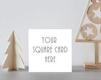 Download Free Xmas Card Mockup, Square Card Mockup, Christmas Card Mockup, Scandi Xmas, Minimalist Lifestyle Mock Up, Greetings Card Mockup PSD Template