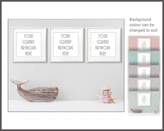 3 Square Frames Mockup Set Of Digital Frames Bathroom Mock Up White Frame Mockup 3 Digital Frames Coastal Decor Mockup Empty Frames