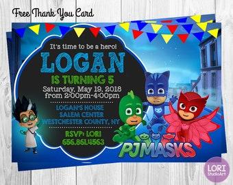 PJ Masks Invitation With Free Thank You Card InvitationBirthday PartyMasks PartyPrintable Digital