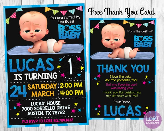 Boss Baby Invitation With Free Thank You Card Boss Baby Etsy