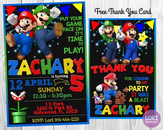 Super Mario Invitation Super Mario Bros Invitation Super