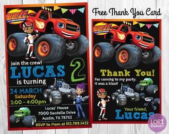Blaze Monster Machines Invitation, Blaze Monster Machine Birthday, Party Invitations, Digital Invitations, Printable Invites, FREE Thank You