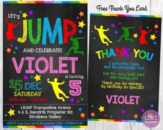 Jump Party Birthday Invitation Bounce House