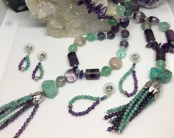 Mother/Daughter Fluorite, Amazonite, and Amethyst Necklace & Earrings