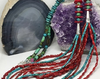 Turquoise and Coral 8 Strand Necklace and Earrings