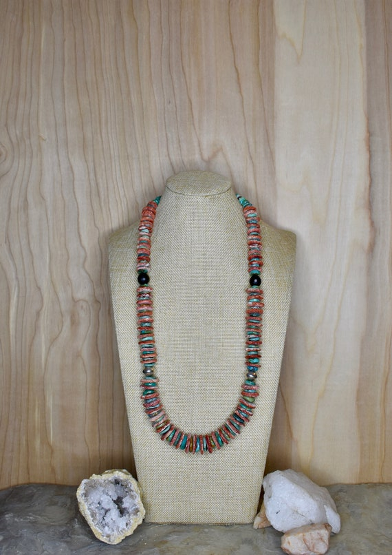 Spiny Oyster, Turquoise, Onyx, Silver Coin Bead & Sterling Silver Necklace