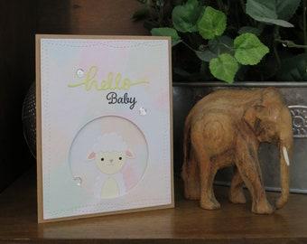 Little Lamb Baby Greeting Card || OOAK handmade blank card, baby, lamb, congratulations