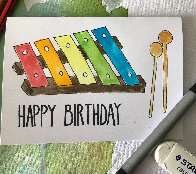 Handmade Watercolor Musical Birthday Card