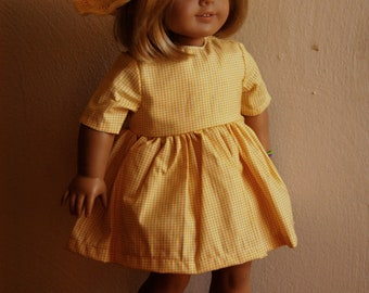 Yellow Sundress and Crochet Hat for 18 inch Doll