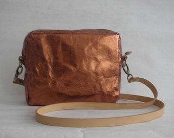 "SnapPap Urban Bag ""Shiny Nr. 5 Copper"", Urban crossbody, Washable Paper Bag, Vegan Bag, Leather-like Paper,"
