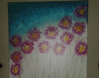 Acrylic Pink & Blue Flower Painting