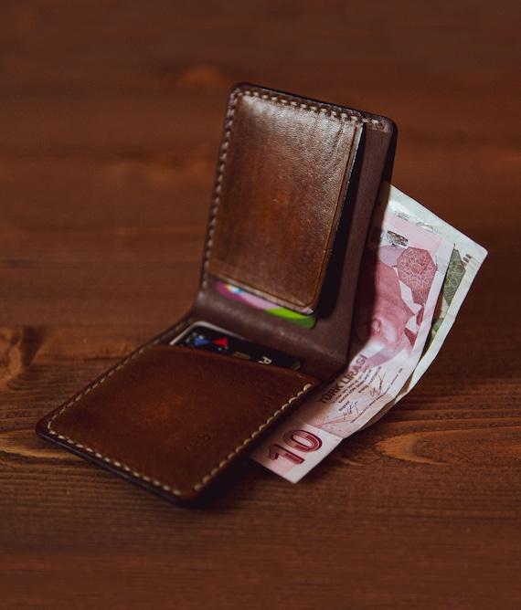 Portatarjetas de cr/édito PELPE Cartera peque/ña y Delgada para Hombre Cuero 100/% espa/ñol Minimalista y Cuero