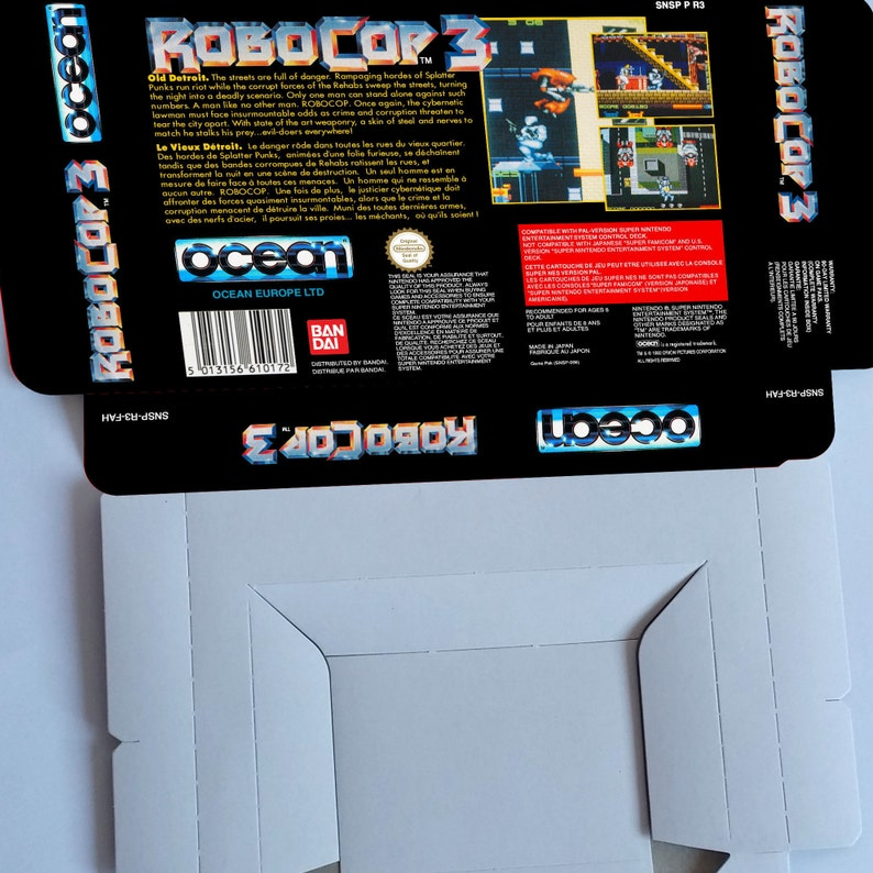 thick cardboard as in the original. SNES PAL -box with insert option Robocop 3