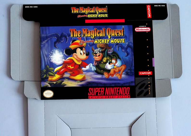 The Magical Quest starring Mickey Mouse - box with insert option - PAL or  NTSC Region - Super Nintendo/ SNES- thick cardboard