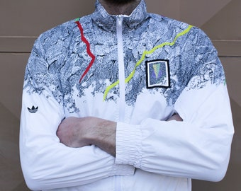 55c6b7699 Rare Vintage ADIDAS Original Windbreaker Jacket    Adidas wind rain jacket     POP Neon White Black Dot    Adidas Original Man Track Jacket