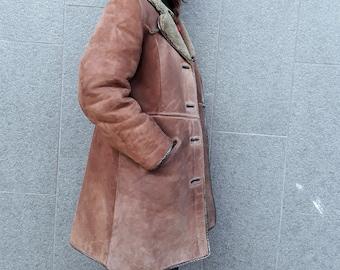 Vintage 70s Original Shearling Suede Coat // Real Shearling Cinnamon Coat // 1970 // Hipster Shearling Suede Coat //