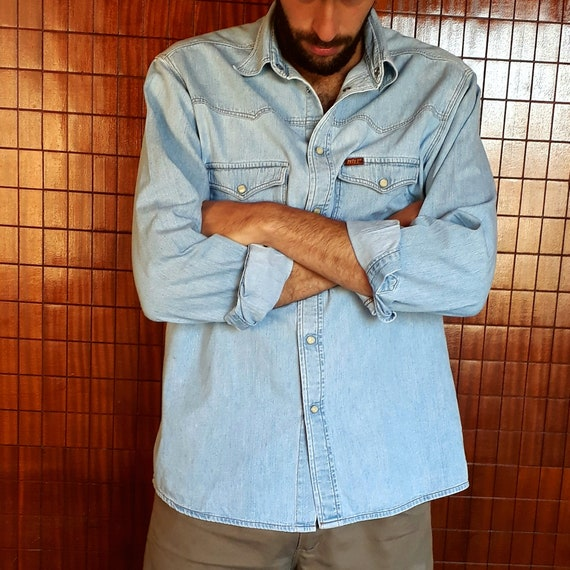 Original Vintage 90s Rifle Light Blue Denim Shirt