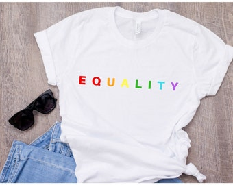 be25e269 Equality T-shirt, Gay Pride shirt, Lesbian Gay T-shirt, Lesbian Gift,  Equality Shirt, Gay Gift, Rainbow shirt, LGBT, LGBT Pride, LGBT Gift