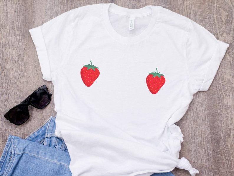 a01b3f2f785e Strawberry boob Shirt Strawberries Nipple T-shirt Cute boobs | Etsy