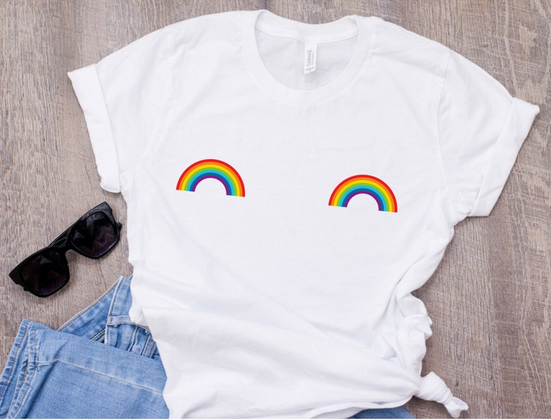 Rainbow boobs T-shirt, Cute boobs shirt, Breast Boobs Tee, Free the Nipple  T-Shirt, Gay Pride Tee, LGBT, LGBT Pride fashion