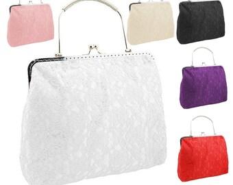 7d53d689f03 white clutch bride bag bridal purse bridal bag evening handbag Vintage  style white clutch evening handbag satin lace wedding white 2065