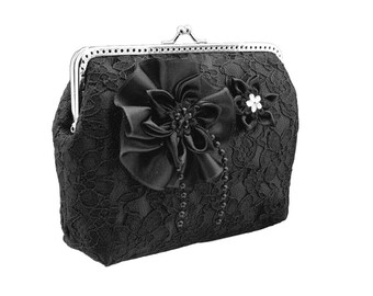 877ed09b0712 black clutch purse black purse clutch goth bag formal bag formal clutch  evening clutch bag chain satin lace goth black formal black 0630